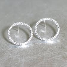 white gold earrings studs white gold swarovski outline circle earrings stud kellinsilver