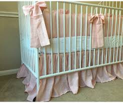 pink crib bedding set ruffled bumper with sash ties gathered
