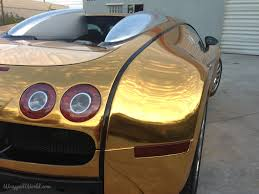 wrapped cars bugatti goldgold chrome vinyl wrapped bugatti flo rida metro wrapz