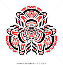 vector illustration aztec mayan tattoos red stock vector 471429878