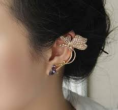 butterfly and rhinestone ear cuff single left no piercing