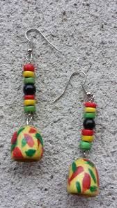 reggae earrings wooden earrings handpainted earrings painted by sheakreations