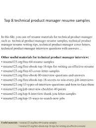 Sample Resume For 2 Years Experience In Mainframe Top8technicalproductmanagerresumesamples 150410091138 Conversion Gate01 Thumbnail 4 Jpg Cb U003d1428675153