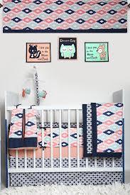Navy Crib Bedding Bacati Liam Aztec Coral Mint Navy 10 Pc Crib Set Including