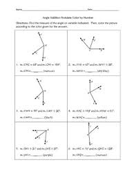 Angle Addition Postulate Worksheet Answers Angle Addition Postulate Color By Number By Awesome Things By Dr