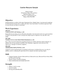 Resume Sles For Cashier Free Resume Templates Cashier Objective Exles Intended For