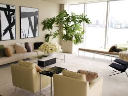 modern wall decor green plants inside the living room with good