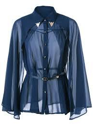 see thru button down cape shirt purplish blue m in blouses