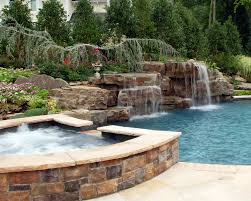 Waterfall Backyard Backyard Swimming Pools Waterfalls U0026 Natural Landscaping Nj