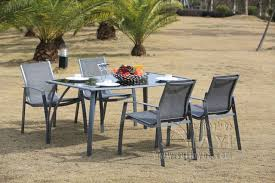 Mesh Patio Table 5 Pieces Aluminum And Mesh Fabric Patio Furniture Garden Furniture