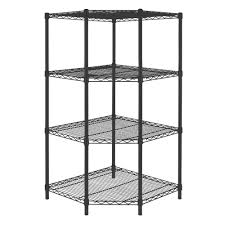 Corner Bookcase Unit Hdx 54 In H X 27 In W X 27 In D 4 Shelf Steel Corner Shelving
