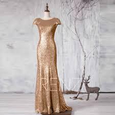 bridesmaid dress gold sequin metallic wedding dressbateau