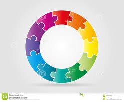colorful rainbow puzzle pieces forming a circle stock vector