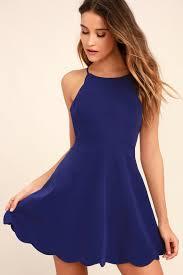 blue dress adorable royal blue dress halter dress backless dress scallop