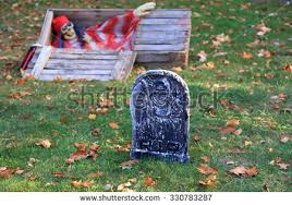 headstone decorations ghost wooden coffin decorations stock photo 330783293