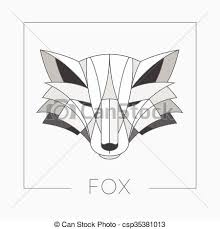 vector clip art of abstract fox head emblem icon design with