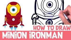 draw minion ironman step step drawings minion