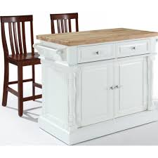 crosley furniture kitchen island crosley furniture kf300062wh oxford butcher block top kitchen island