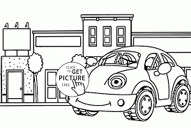 funny car in town coloring page for kids transportation coloring