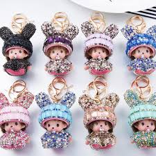 baby keychains monchichi definitely bunny baby doll keychain pendant for