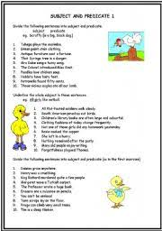 english worksheets subject and predicate worksheets page 1