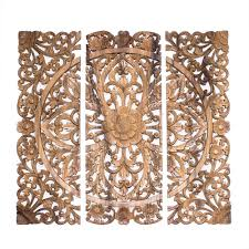 Wood Panel Wall Decor by Balinese Headboard 3 Wood Decorative Wall Panels Hand Carved Floral