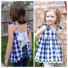 baby girls summer plaid backless bow dress knickers suits