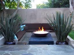 Modern Backyard Outdoor Modern Backyard Fire Pit Near Lake With Wooden Chairs