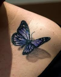 collection of 25 pretty blue 3d butterly on shoulder