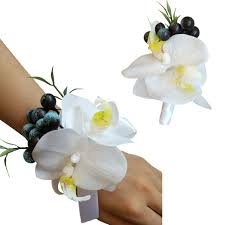 wedding wrist corsage white artificial phalaenopsis flower groom boutonniere wrist