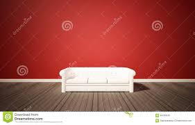 living room red wall and dark wood floor with white sofa stock