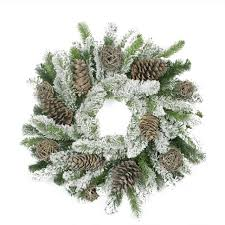 24 flocked pine cone and twig artificial wreath