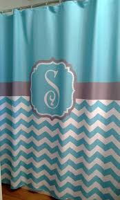 Colorful Fabric Shower Curtains Shower Curtain Chevron Fabric Monogram Personalize Blue U2013 Swirled Peas