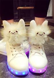 small flat led lights white led lights teddy bear fashion flat shoes flats shoes