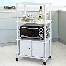 kitchen cabinet with microwave shelf amazon com haotian white microwave shelf kitchen wheeled storage
