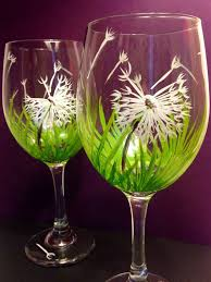 set of 2 dandelion wishes in the grass wine gl stemless wine gl
