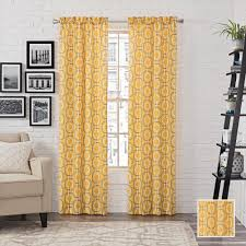 Curtain Pairs Pairs To Go Room Darknening Yellow Polyester Rod Pocket Curtain 1