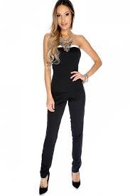 strapless jumpsuit black black white two tone strapless jumpsuit