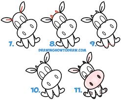 how to draw a cute cartoon kawaii cow word toon easy step by step
