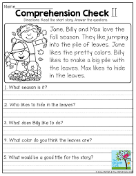 3rd grade reading comprehension questions comprehension checks read the simple story and answer the