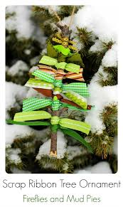 scrap ribbon tree ornaments fireflies scrap and ornament