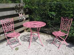 Garden Bistro Chairs French Ornate Pink Wrought Iron Metal Garden Table And Chairs