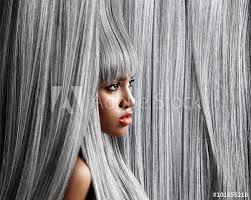 trendy grey hair woman s profile in trendy grey hair background buy this stock