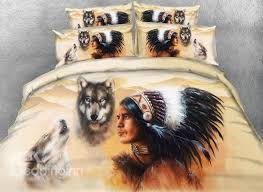 3d wolf and indian chief printed 4 bedding sets duvet