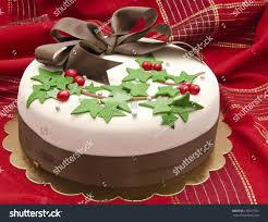 christmas cake decorated fondant holly leaves stock photo