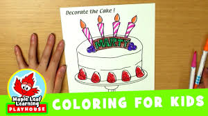 cake coloring page for kids maple leaf learning playhouse youtube
