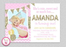 pink and gold invitation 1st birthday invitation birthday