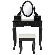 black makeup desk with drawers amazon com best choice products vanity table and stool set w