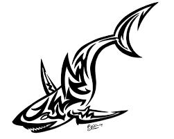 attractive black tribal shark tattoo design