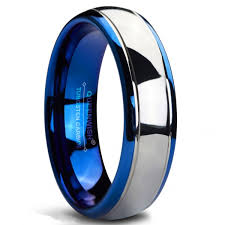 blue men rings images Queenwish 6mm tungsten carbide wedding band blue silver dome jpg
